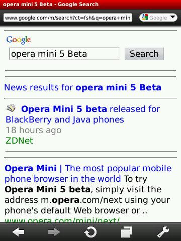 Opera Mini Browsing